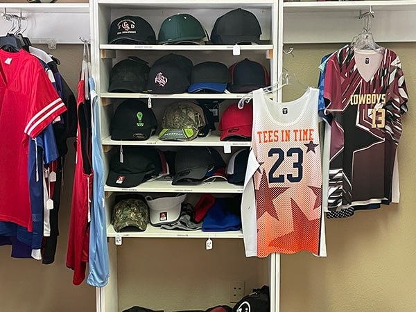 Tees In Time custom embroidered hats and custom sporting apparel