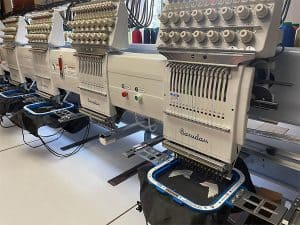 Custom embroidery machines at work